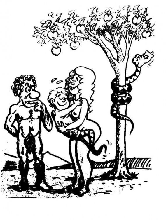 Малюнок  про адама, єву журнал перець