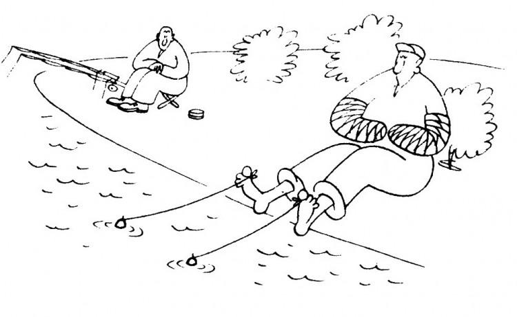 Малюнок  про риболовлю, рибалок, чорний журнал перець