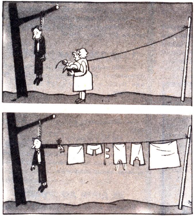 Малюнок  про самогубство, білизну, чорний, цинічний журнал перець