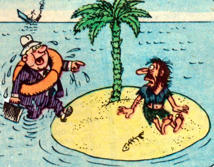 Малюнок  про корабельну аварію, безлюдний острів, чорний журнал перець