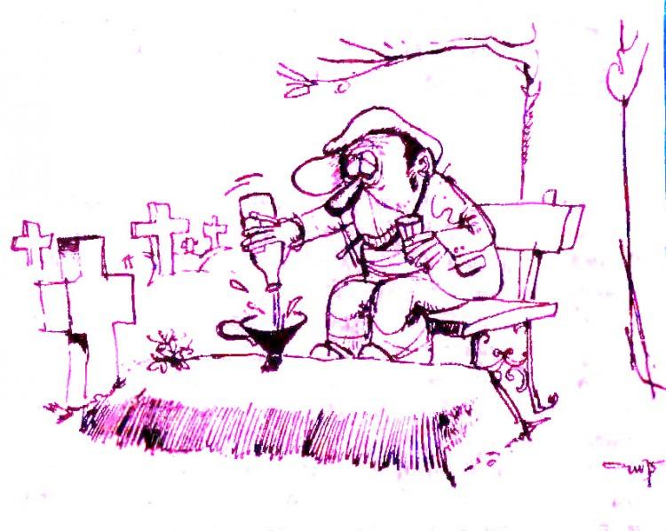 Малюнок  про п'яниць, кладовище, чорний журнал перець