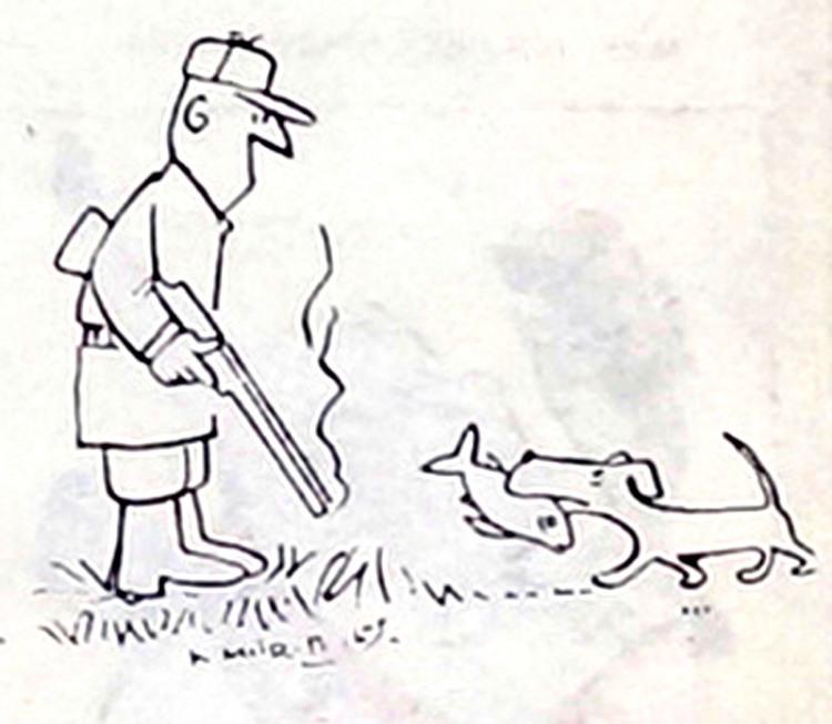 Малюнок  про полювання, собак, рибу журнал перець