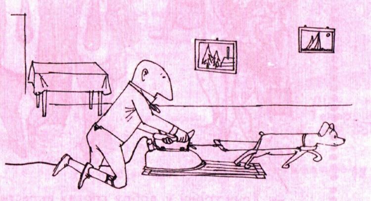 Малюнок  про праску, прасування білизни, собак журнал перець