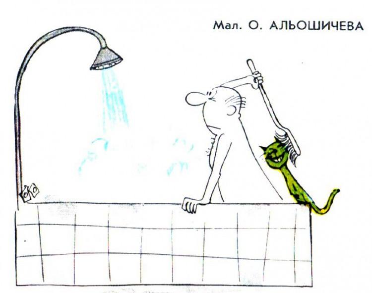 Малюнок  про ванну, котів журнал перець