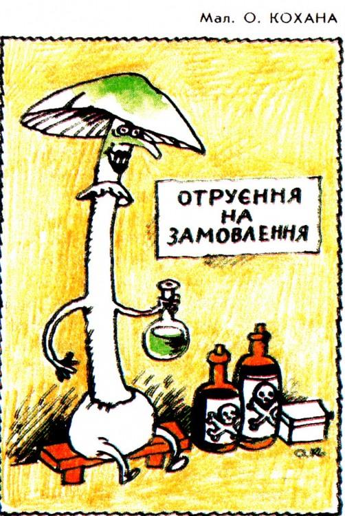 Малюнок  про гриби, отруєння, чорний журнал перець