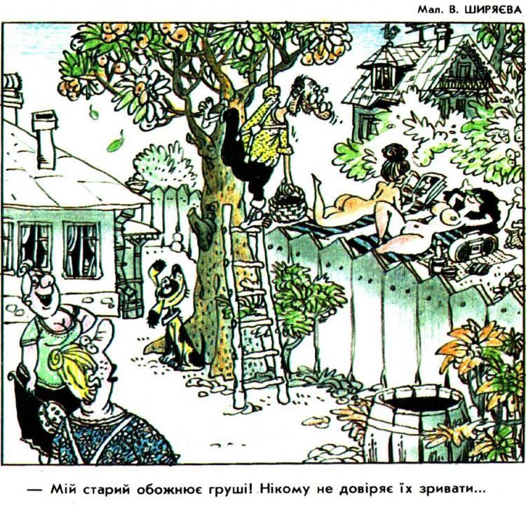 Малюнок  про грушу, підглядання, вульгарний журнал перець