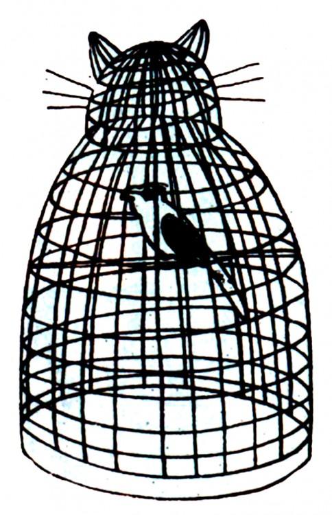 Малюнок  про птахів, клітку журнал перець