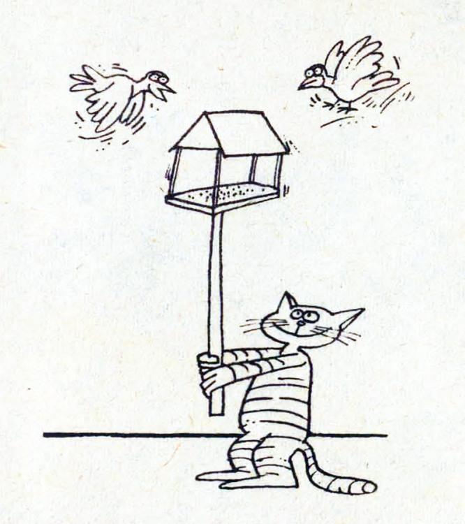 Малюнок  про котів, птахів журнал перець