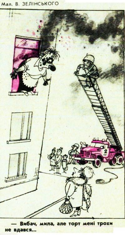 Малюнок  про приготування їжі, пожежу, чоловіка, дружину журнал перець