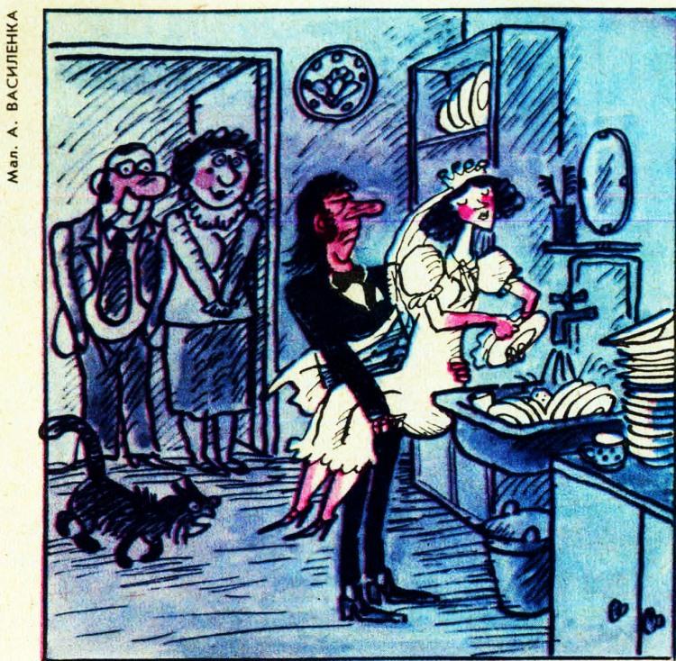 Малюнок  про молодят, посуд, миття журнал перець