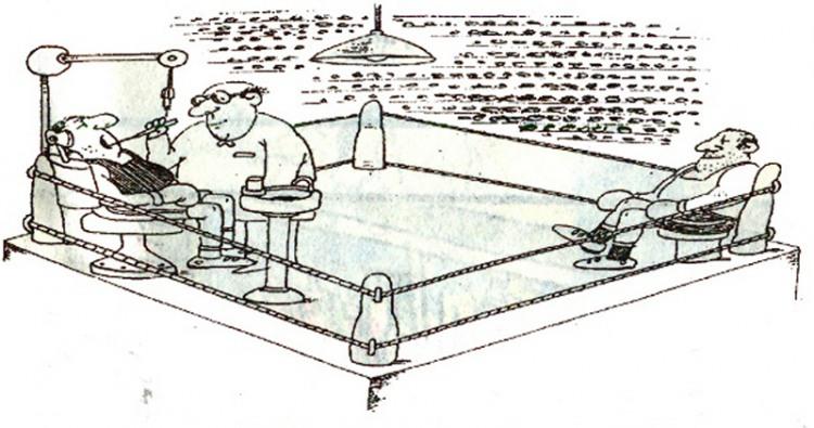 Малюнок  про боксерів, стоматологів журнал перець
