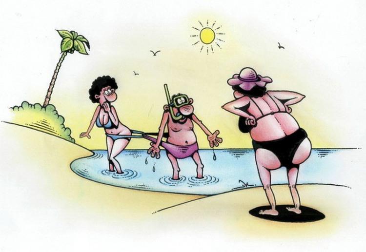 Малюнок  про чоловіка, дружину, пляж та труси