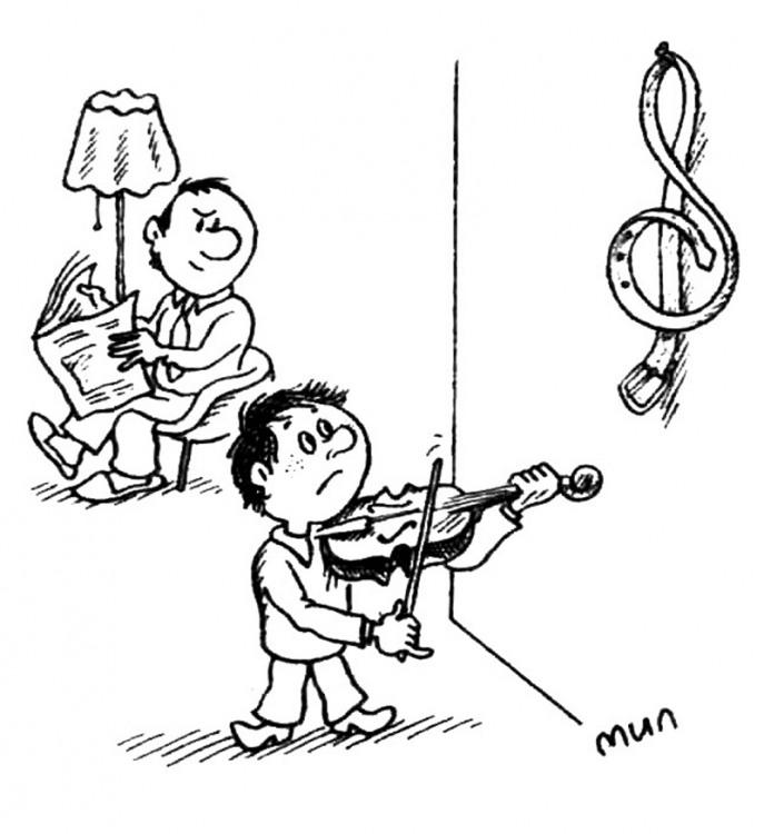 Малюнок  про скрипку, ремінь, дітей журнал перець