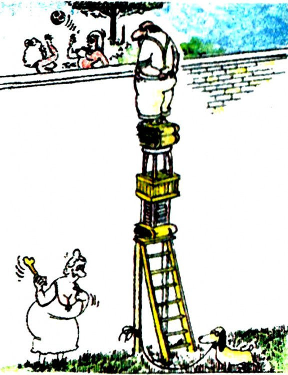 Малюнок  про чоловіка, дружину, підглядання, вульгарний журнал перець