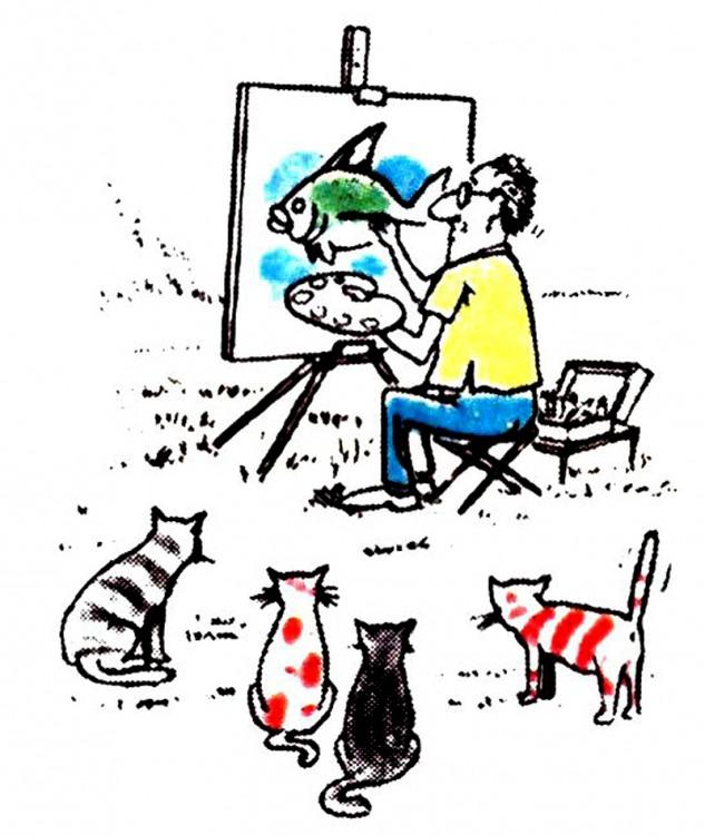Малюнок  про художників, рибу, котів журнал перець