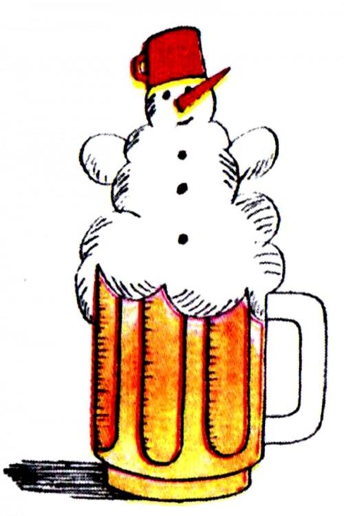 Малюнок  про пиво, сніговика журнал перець