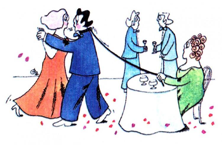 Малюнок  про чоловіка, дружину, танці журнал перець