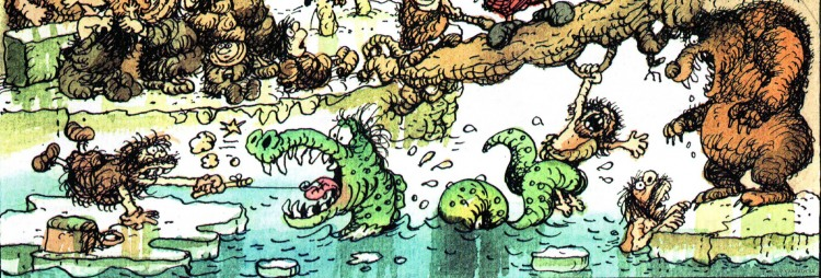 Малюнок  про первісних людей, риболовлю, чорний журнал перець