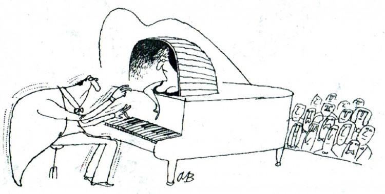 Малюнок  про рояль, музикантів, суфлера журнал перець
