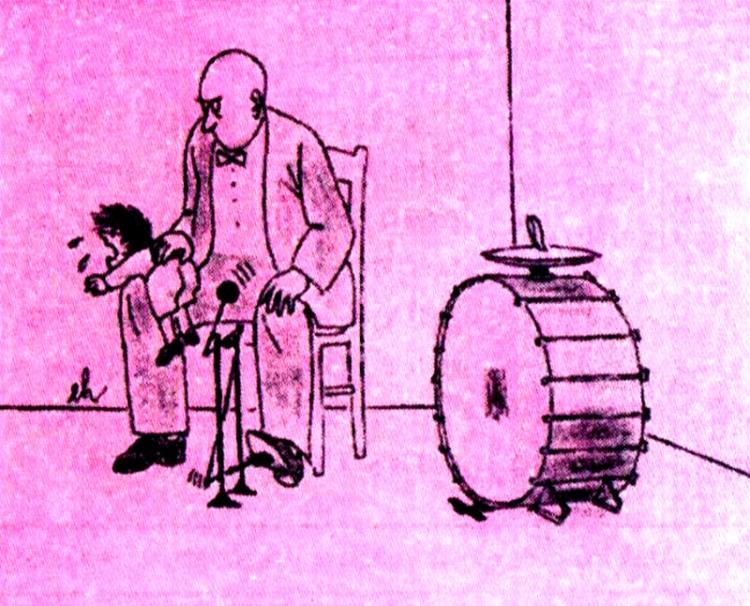 Малюнок  про музикантів, дітей, барабан, покарання журнал перець