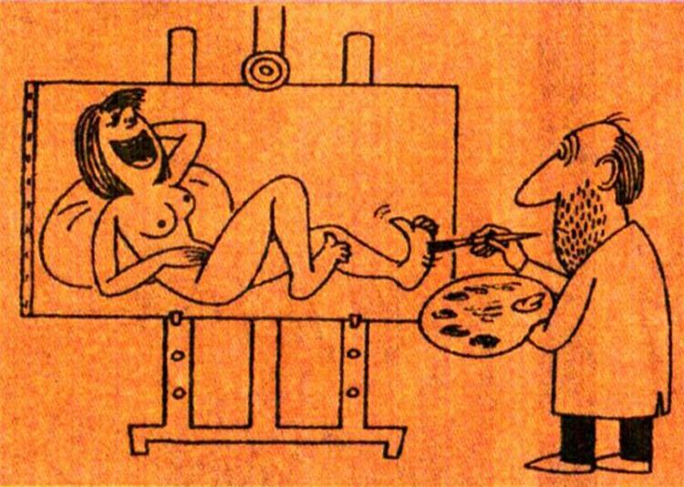 Малюнок  про художників, лоскоту, вульгарний журнал перець