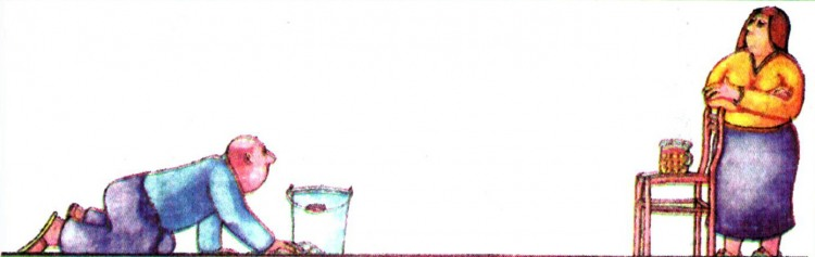 Малюнок  про чоловіка, дружину, прибирання, пиво журнал перець