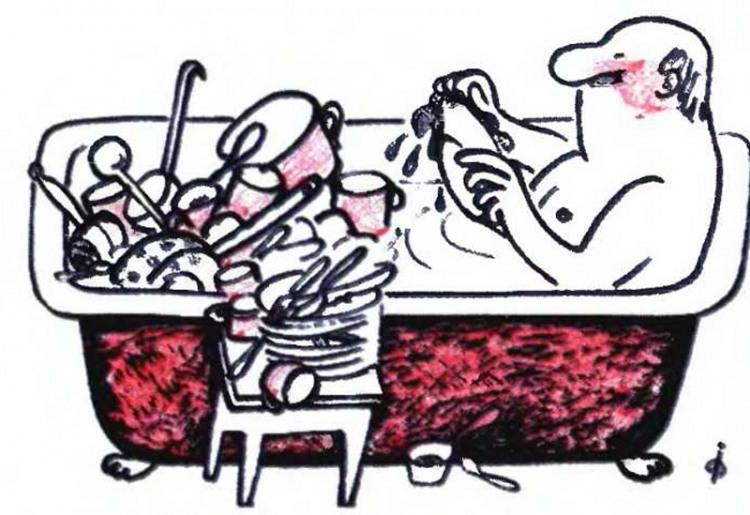 Малюнок  про посуд, миття, ванну журнал перець