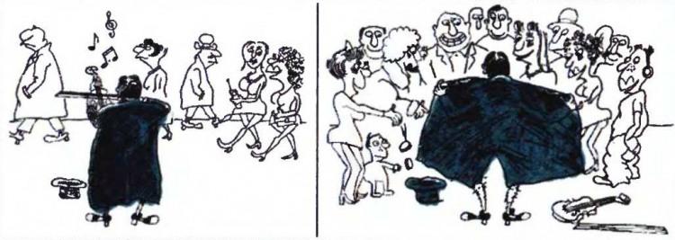 Малюнок  про музикантів, ексгібіціонізм, вульгарний журнал перець