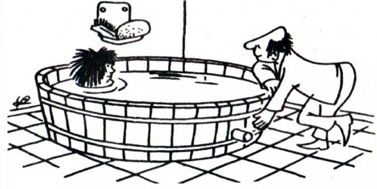 Малюнок  про діжку, миття, чоловіків, жінок журнал перець