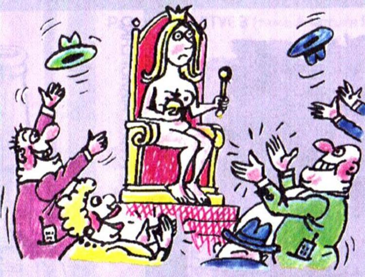 Малюнок  про королеву, роздягнених людей, вульгарний журнал перець