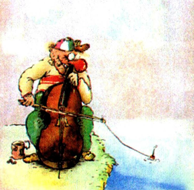 Малюнок  про музикантів, рибалок, риболовлю журнал перець