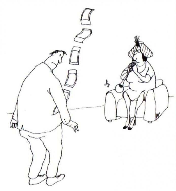 Малюнок  про чоловіка, дружину, гроші журнал перець