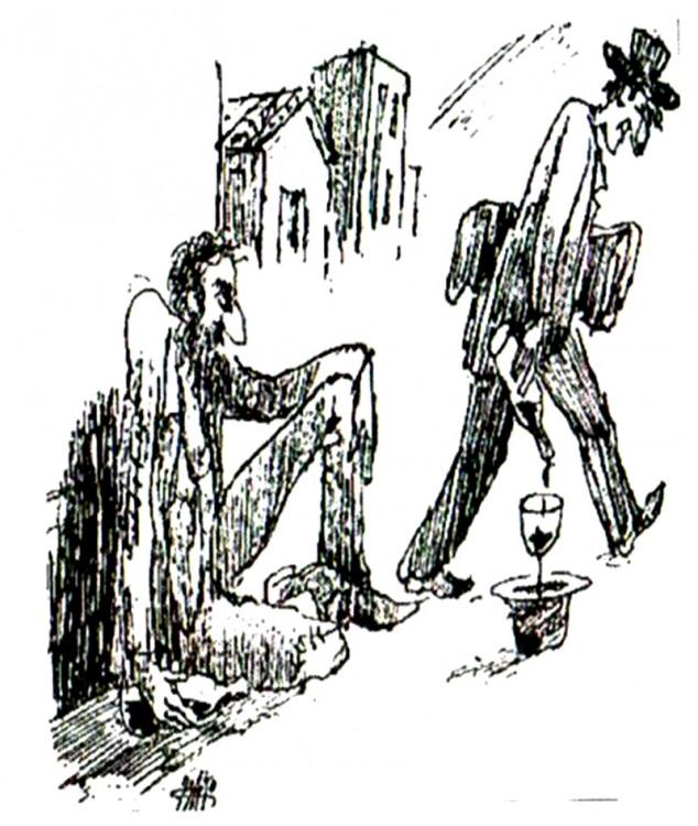 Малюнок  про жебраків, алкоглоль журнал перець