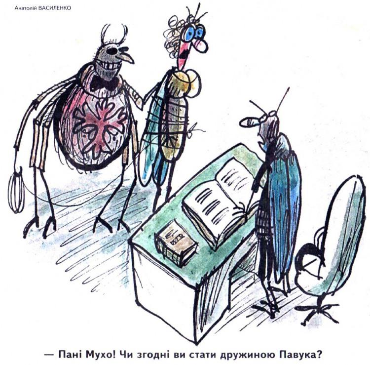 Малюнок  про павуків, мух, одруження журнал перець