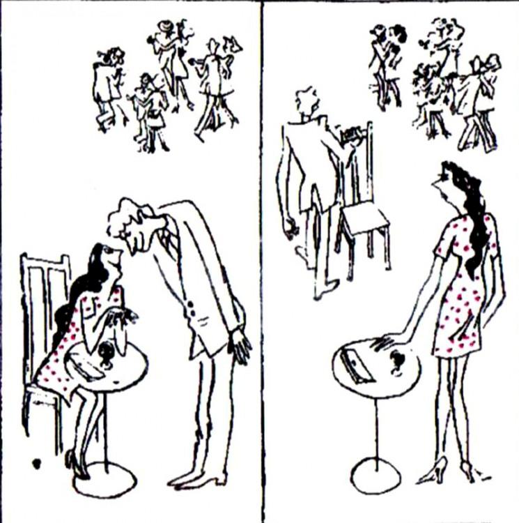 Малюнок  про чоловіків, жінок, стільці, танці журнал перець