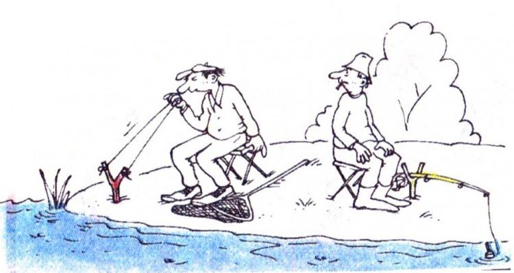 Малюнок  про риболовлю, рибалок, рогатки журнал перець