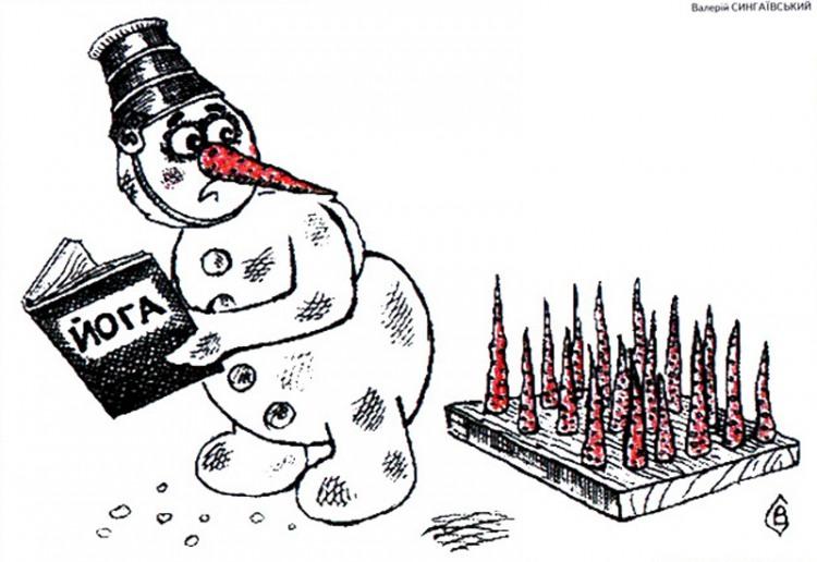 Малюнок  про сніговика, йогу, моркву журнал перець