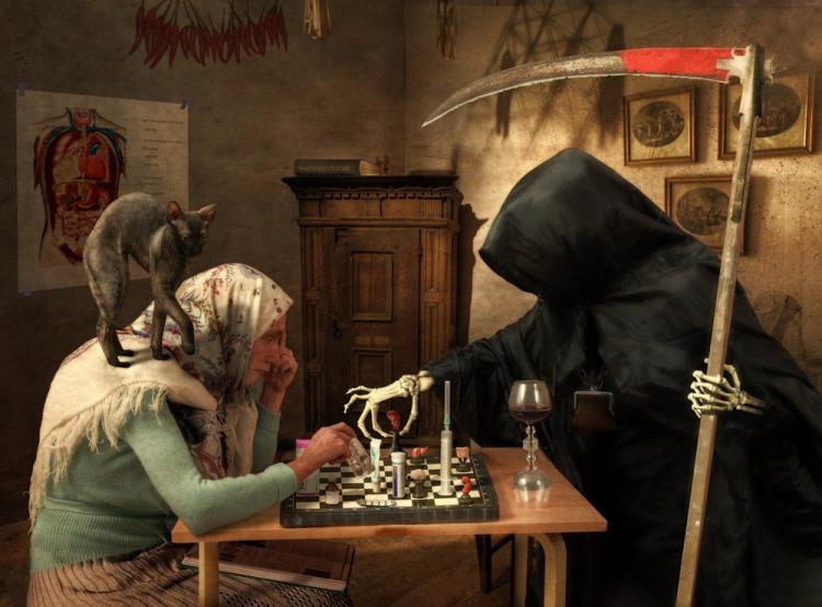 Малюнок  про смерть, шахи чорний