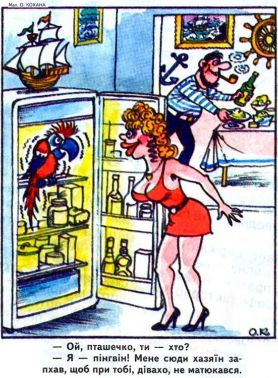 Малюнок  про холодильник, моряків, папуг, матюки журнал перець