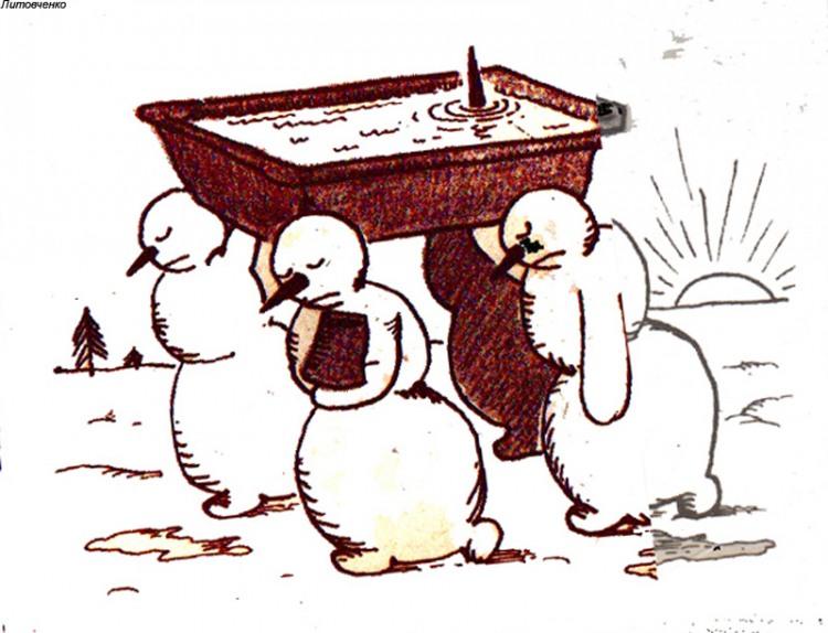 Малюнок  про сніговика, похорон, чорний журнал перець