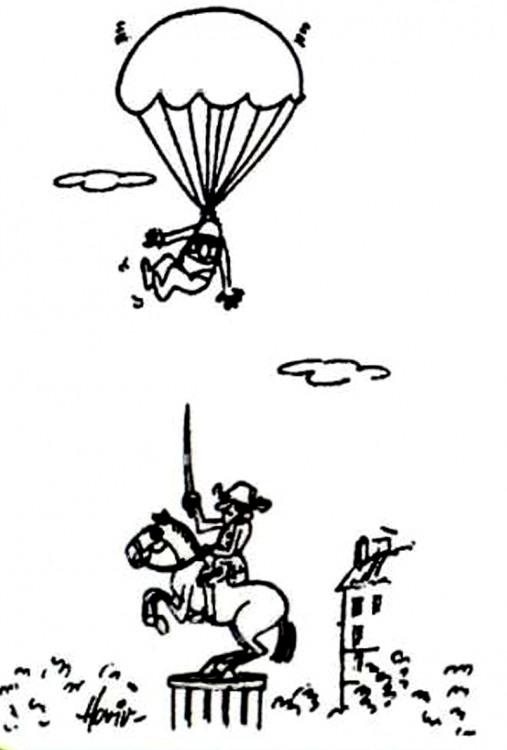 Малюнок  про статую, парашутистів, чорний журнал перець