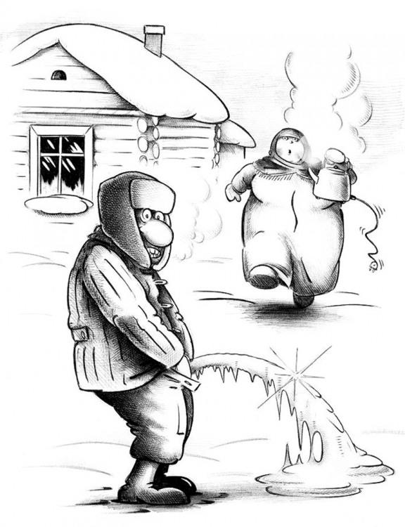 Малюнок  про сечовипускання, зиму, мороз чорний