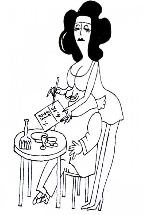 Малюнок  про офіціантів, жіночі груди, ресторан журнал перець