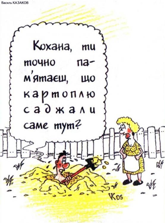 Малюнок  про город, картоплю, чоловіка, дружину журнал перець