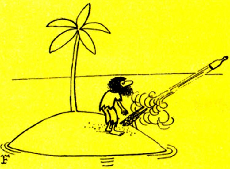 Малюнок  про безлюдний острів, пляшку журнал перець