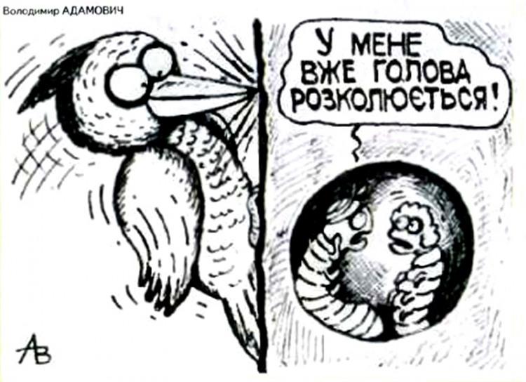 Малюнок  про дятла, гусінь, головний біль журнал перець