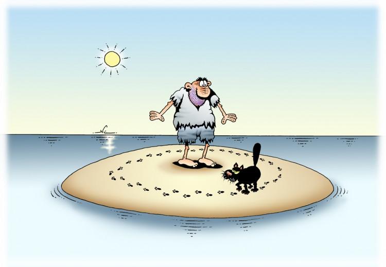 Малюнок  про безлюдний острів та чорного кота