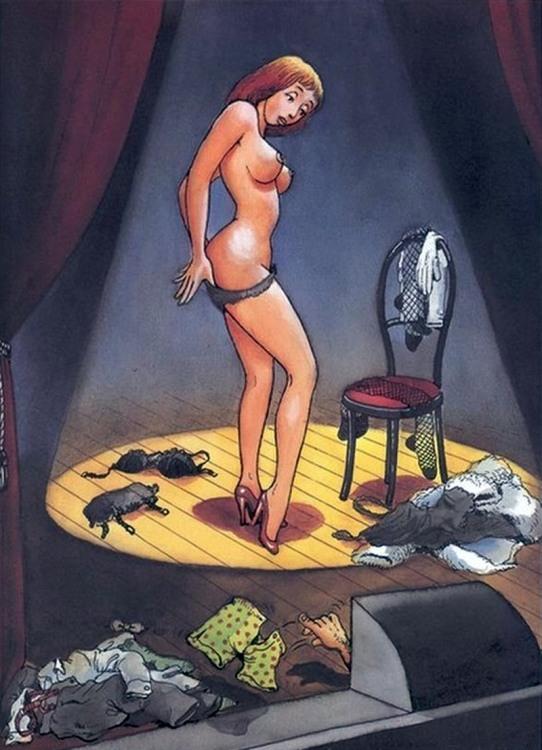 Малюнок  про стриптиз, суфлера, інтимний вульгарний