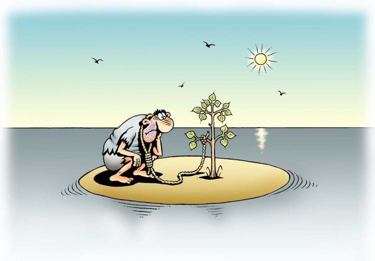 Малюнок  про безлюдний острів, самогубство чорний