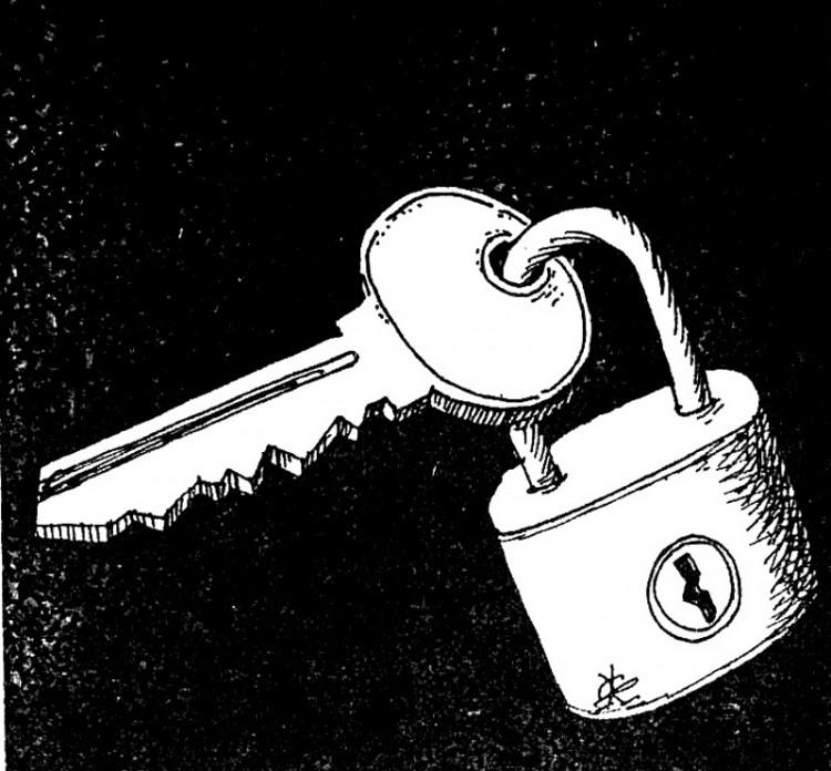 Малюнок  про замки, ключ журнал перець